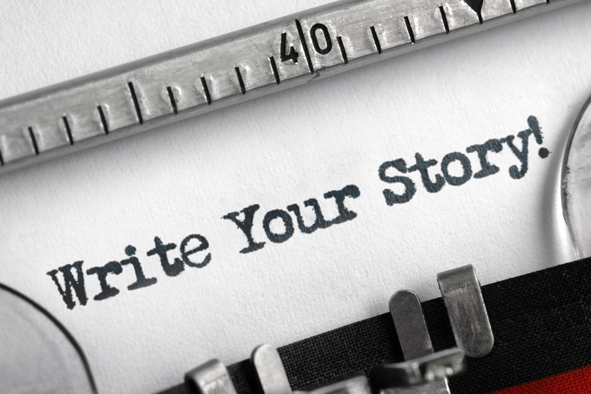 Write your story written on an old typewriter concept for unique, individual or personal life history message